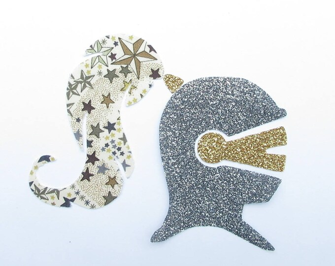 Applied fusible Knight helmet helmet fabric liberty Adelajda Brown and fabric glitter patch iron on fusible liberty