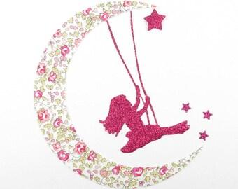Applique girl liberty on liberty Eloise pink swing. Fusing patch liberty liberty iron on liberty fabrics