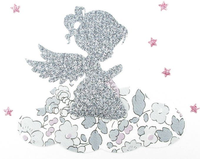Applied shape in your little girl Angel praying Platinum Betsy liberty fabric and glitter flex (baptism, communion) iron on patch