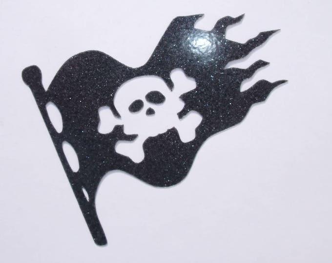 Applied fusing pattern black glittery fabric pirate flag fusible pirate patch iron pirate flag pirate applique