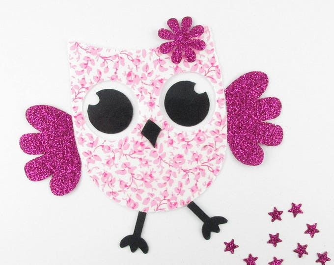 Applied fusible liberty OWL pink flex Mason glitter applique liberty fusible patch iron on patch OWL iron on
