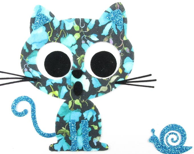 Applied fusing cat & liberty snail Victoria Virginia blue flex glittery fusible applique liberty patch iron pattern