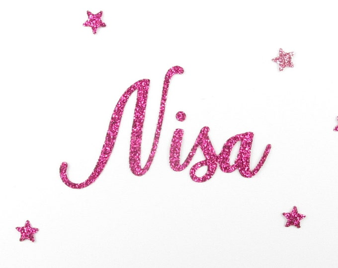 Applied fusible customizable glitter name of 4 letters (Nisa, example) glitter fabric (colors)