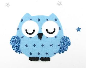 Applied fusing sleeper OWL in blue starry glitter flex applique OWL patch iron on fusible OWL motif