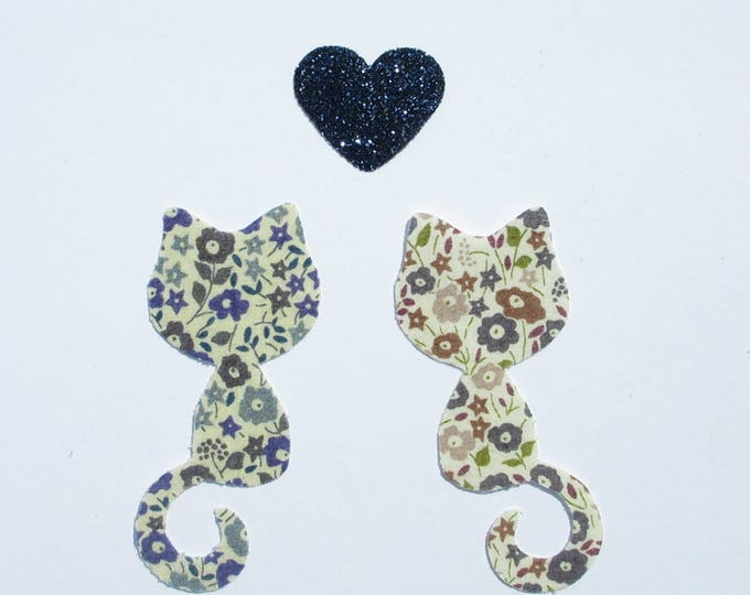 Applied fusing cats liberty Fairford blue Fairford Brown & flex sequined applique cat slip seconds iron on