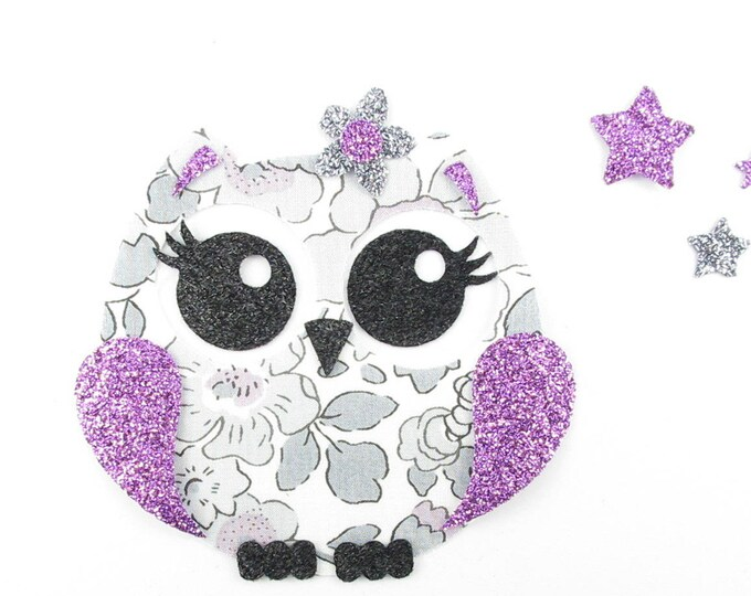 Applied OWL pretty liberty fabric fusing Platinum Betsy flex glitter patch liberty fusible iron-on applique