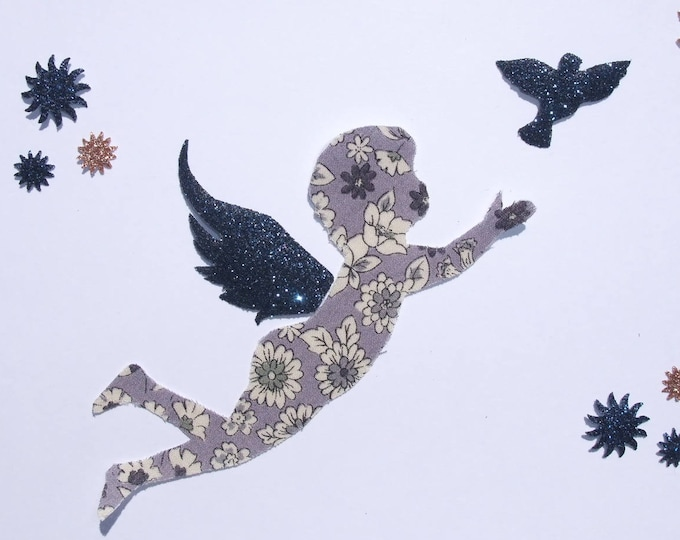 Applied fusing angel glitter patch pixel pattern liberty Angel Lecien liberty grey and flex fusible applique patches