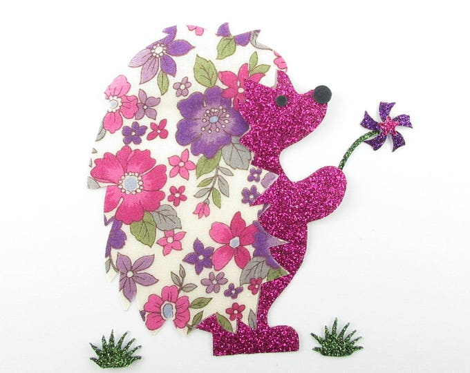 Applied fusible Hedgehog liberty Japanese Lecien fuchsia and purple & glitter flex pattern fusible iron patch patches
