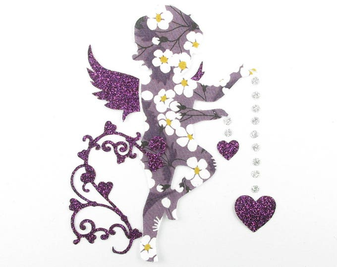 Applied fusing liberty Angel plum flex Mitsi sequined applique Angel motif angel patch iron-on fusible liberty heart