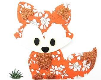 Iron on patch applique liberty fusing Fox orange Capel fabric fusing liberty iron on liberty fabrics