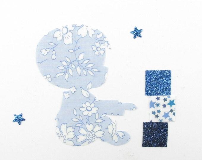 Applied fusible boy that is liberty fabric cubes Capel blue flex glitter patch pixel pattern boy badges
