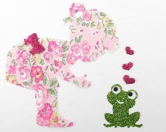 Applied fusing girl princess frog Tatum pink liberty fabric sequin patch liberty iron-on applique