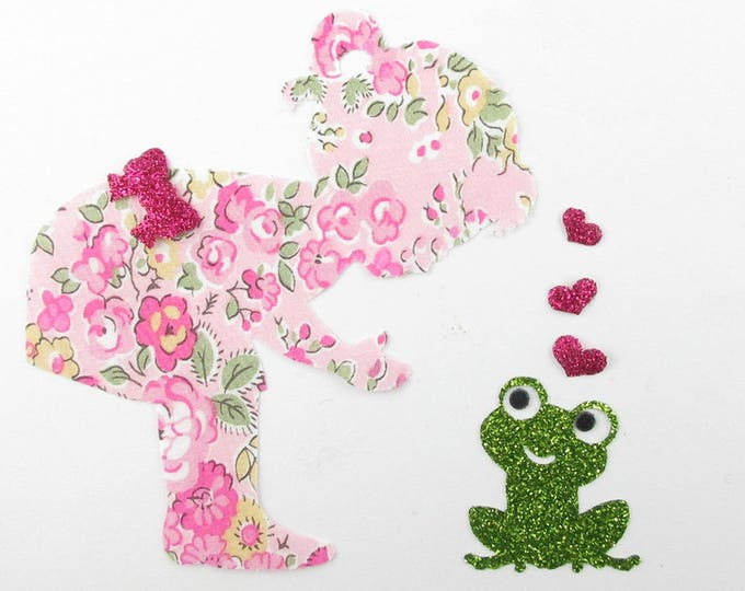 Applied fusing girl princess frog Tatum pink liberty fabric sequin patch liberty iron-on applique