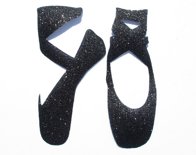 Applied fusing slippers in black glitter fabric, iron on glitter fabrics, dancing shoes, dance, iron on patch badge