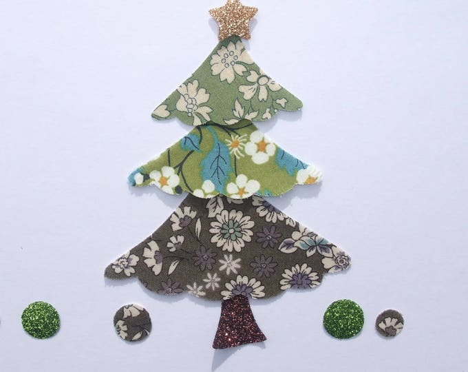 Applied fusing green Mitsi & liberty Capel fabric Christmas tree + khaki flex Lecien glittery patch pixel pattern Christmas badges