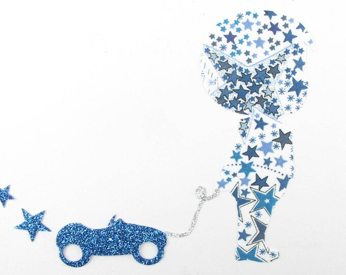 Applied shape in your little boy & car Adelaja blue liberty fabric and flex glitter patch pattern iron-on fusible badge