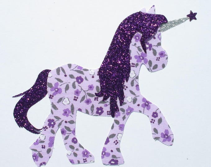 Applied fusing liberty printed fabric and purple Unicorn glitter patch pixel Unicorn patterns fusing patch