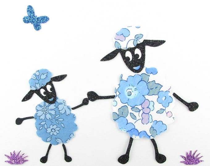 Applied sheep seconds (MOM & baby) Liberty Blue Betsy and Capel blue + flex glitter patch iron on fusible patterns