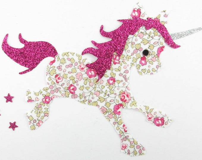 Applied fusing Unicorn liberty of Eloise flex pink glittery patch Unicorn liberty fusible iron-on applique