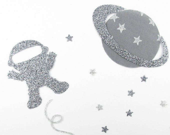 Applied fusing astronaut Cosmonaut planet fabric gray star glitter flex patch iron on fusible liberty