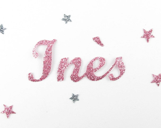 Applied fusible customizable glitter name of 4 letters (Ines, example) glitter fabric (colors)