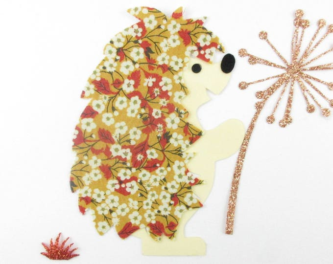 Applied fusible applique Hedgehog liberty Mitsi Valeria mustard and flex glitter patch iron on fusible Hedgehog pattern
