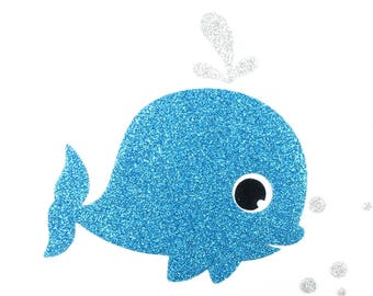 Applied fusing whale turquoise patch glittery fabric whale glitter pixel pattern whale customisation applied fusing