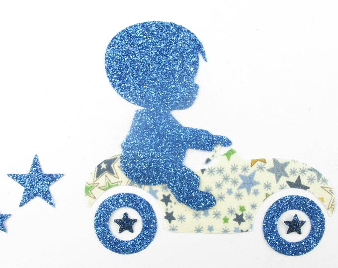 Applied fusing boy car liberty Adelajda blue and green flex sequined applique liberty collection patterns car