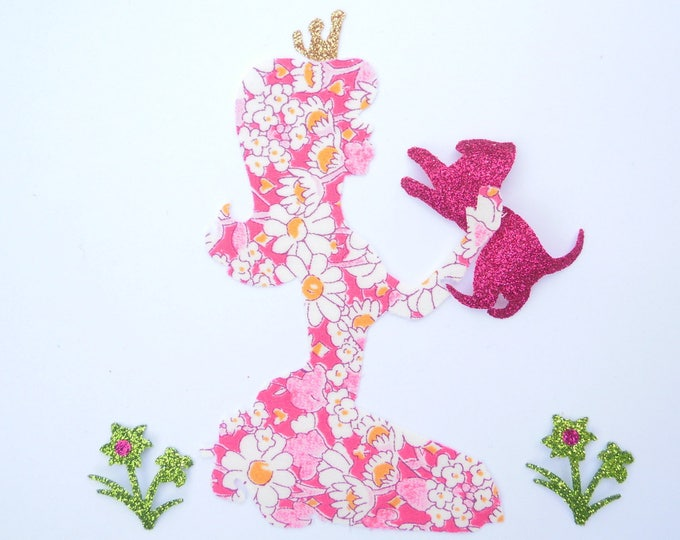Applied fusible Princess & liberty cat Alice flex pink glittery patch Princess pattern iron-on fusible applique liberty