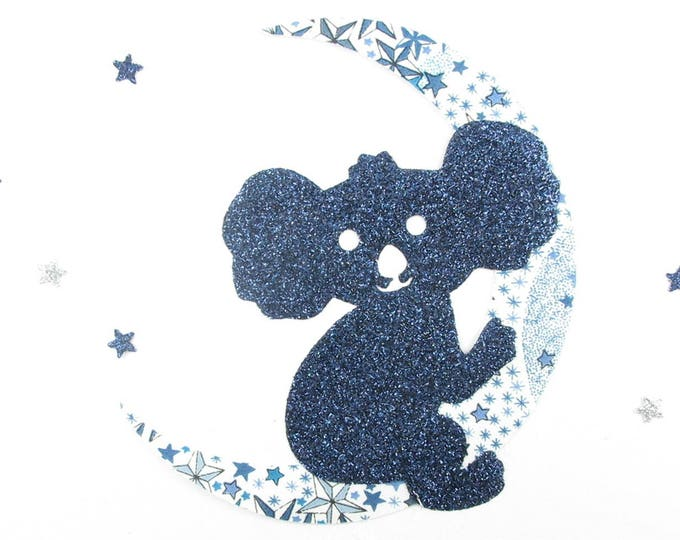 Applied fusible koala + Moon fabric liberty Adelajda blue flex sequined applique liberty fusing patch iron on patches