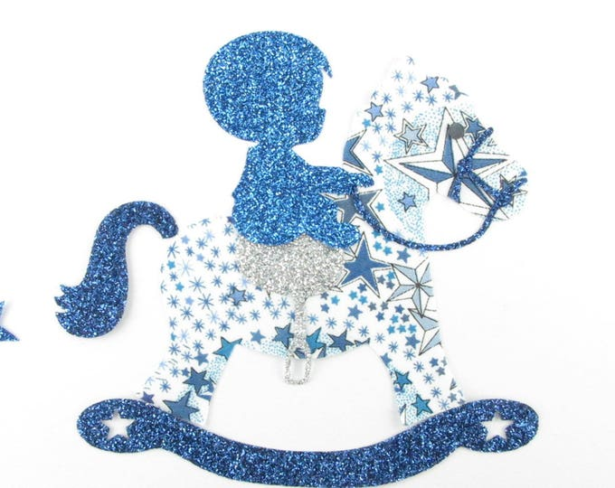 Applied fusible liberty rocking horse in liberty Adelajda blue, and fabric glitter patterns fusing horse baby coat