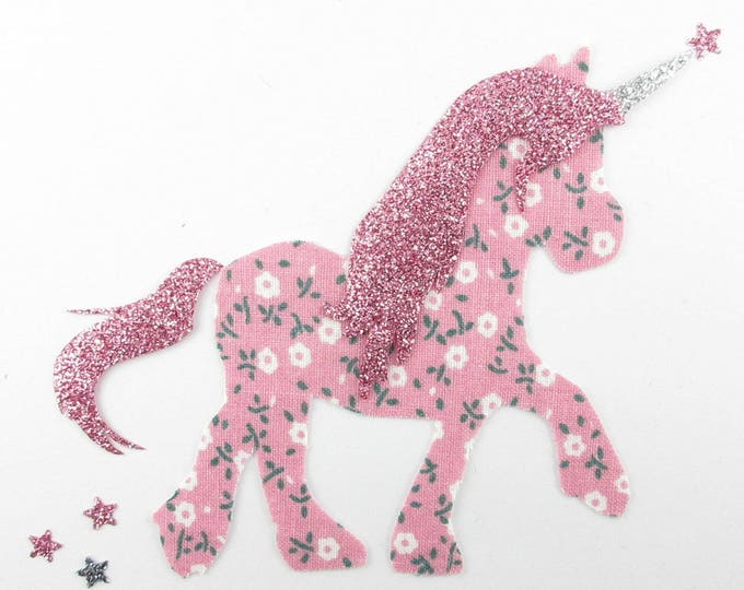 Applied fusible fabric and liberty print fabric Unicorn glitter Unicorn design fusible applique liberty Unicorn badge