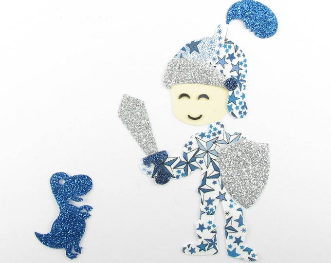 Applied fusible boy Knight and dragon fabric liberty Adelajda blue and glitter flex fusible slip appliques