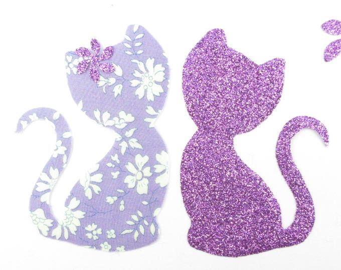 Patch iron on fusible Appliqué pattern cats liberty Capel purple fabric lovers cat & flex sequined applique liberty iron on patch