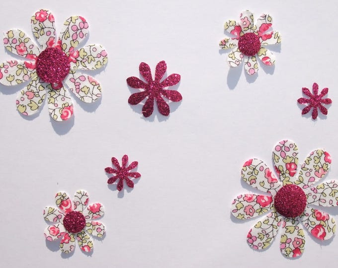 Applied 7 seconds flowers liberty Eloise pink flex glitter patch iron on fusible pattern glitter flowers liberty