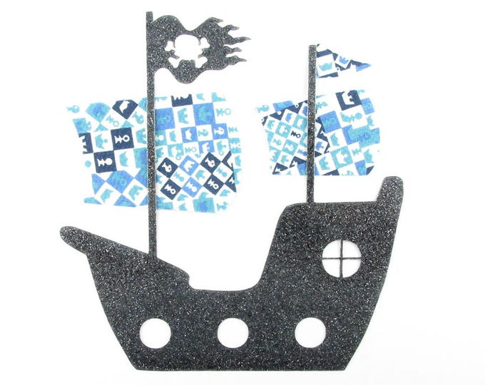 Pirate ship fusible applique Liberty Blue Checkmate + black applique glitter flex fusible pirate liberty iron on patch