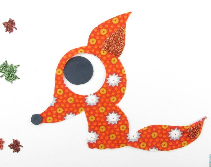 Fox iron-on patch applique fusing fabric Fox Petit Pan orange and glitter flex iron on fox patches foxes pattern