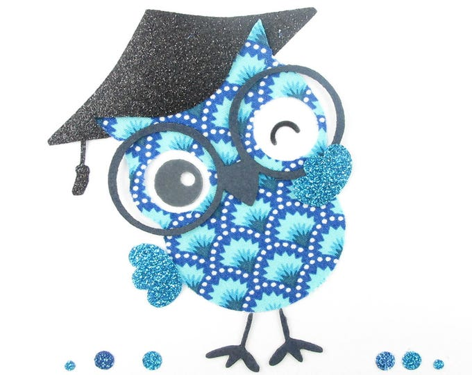 Applied fusing OWL OWL graduation blue Petit Pan fabric and glitter flex patch iron-on fusible pattern applique OWL