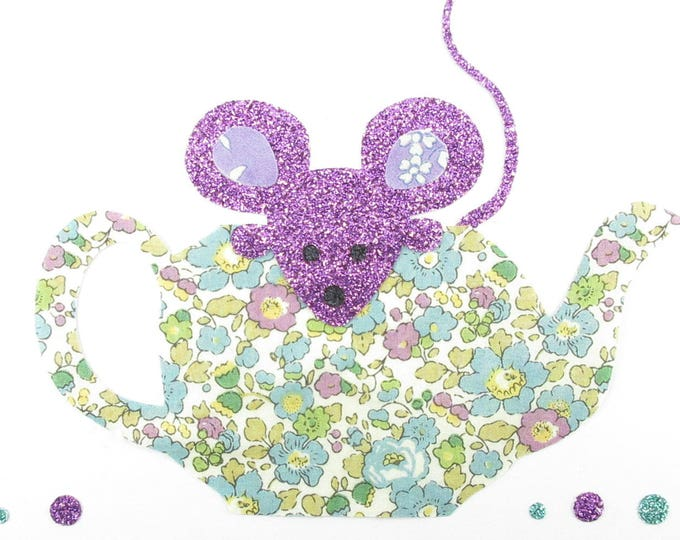 Fusing teapot and mouse fabric liberty Betsy Ann green and purple Capel + glitter flex liberty the fusible applique