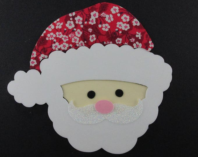 Applied fusible Santa head liberty Mitsi Valeria red velvet fabrics patch iron iron on pattern Christmas santa coat