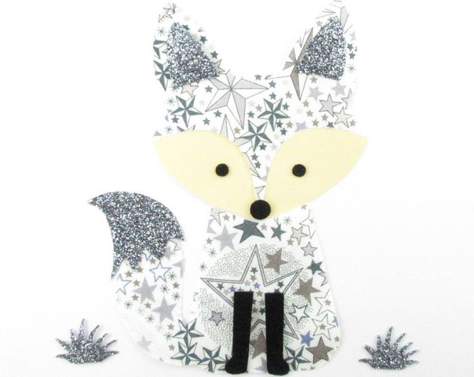 Patch Fox iron patch applied fusible liberty Fox fabric liberty Adelajda gray - glitter flex Fox applique