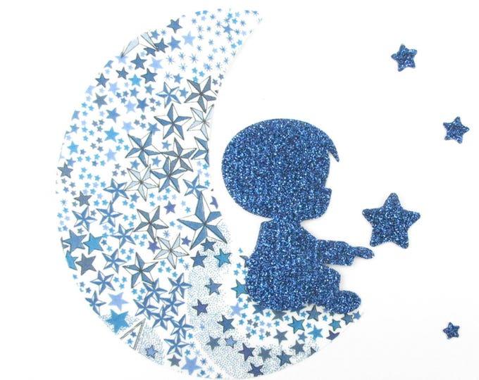 Patch iron boy on a moon & stars appliqué heat-sealed liberty Adelajda blue + flex glitter iron on patch applique