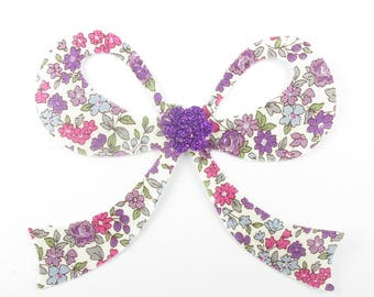Applied fusible suits Japanese Lecien fuchsia and purple liberty fusible applique patch iron-on bow