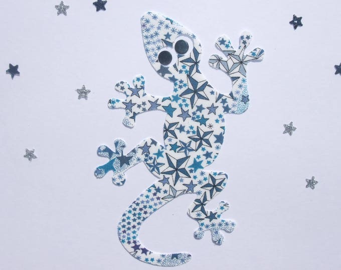 Applied fusible fabric liberty Adelajda Blue lizard and glittery fabric patch iron on patch applique liberty fusible
