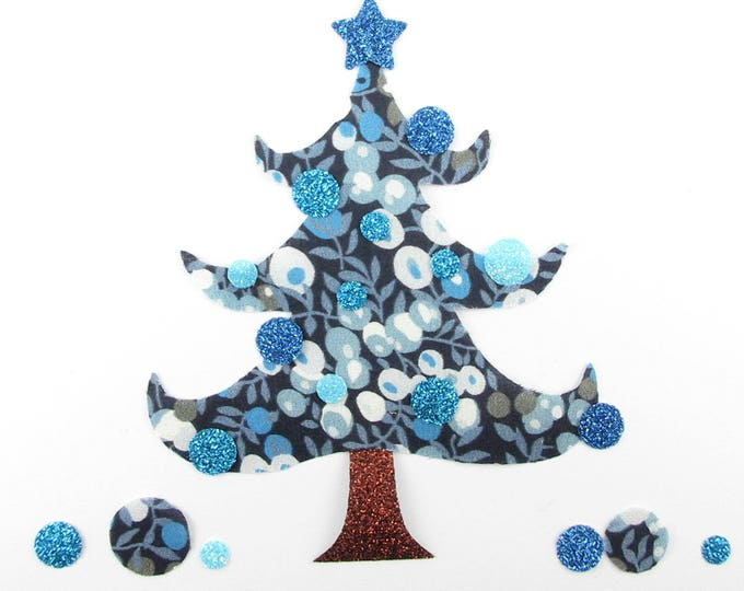 Applique liberty shape in your Christmas tree blue flex Wiltshire fabric patch fir Christmas liberty fusible iron-on glitter