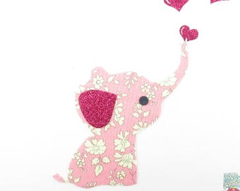 Applique elephant and hearts pink capel liberty fabric, fusing fusing liberty coat liberty iron on liberty fabrics