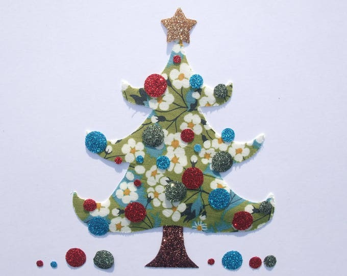 Applied fusible Christmas tree green Mitsi liberty fabric and glitter flex patch iron on applique liberty fusible Christmas iron on