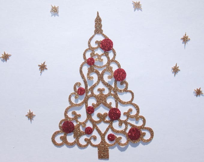 Applied fusible patch iron-on gold glittery fabric Christmas tree shape in your glitter christmas iron on glittery fabrics