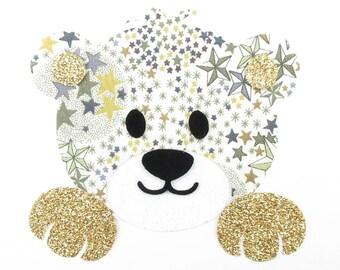 Applied fusible liberty bear head Adelajda Brown flex glitter Thermo pattern liberty patch iron on patch teddy bear iron