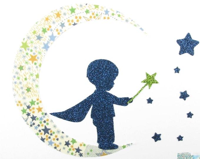 "Applied fusing boy ""My little prince"" liberty liberty Adelajda blue-green + glitter flex patch iron boy pattern"